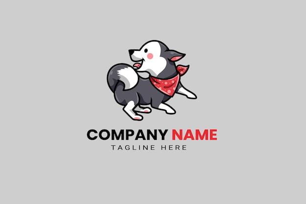 Niedliche kawaii welpen hund maskottchen cartoon logo design vorlage symbol illustration handgezeichnete