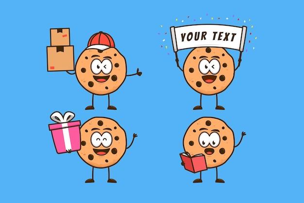 Niedliche kekse charakter cartoon maskottchen aktivität set, paket lieferung, geschenk geben, banner tragen und buch lesen