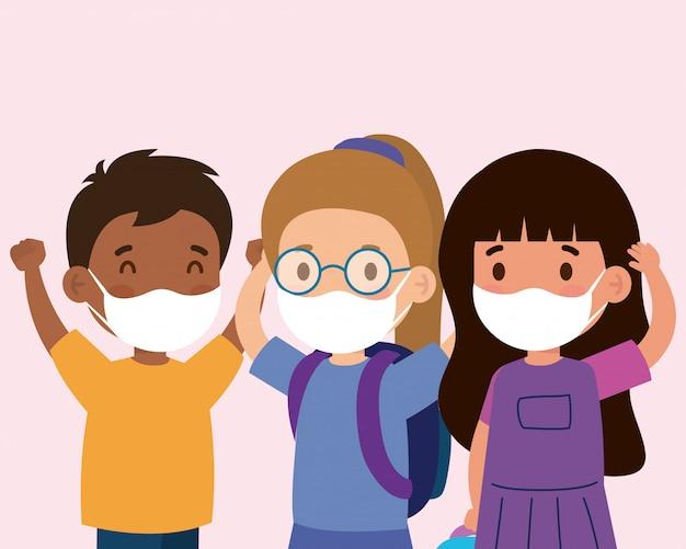 Niedliche kinder, die eine medizinische maske tragen, um coronavirus-covid 19 zu verhindern