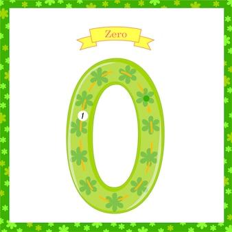 Niedliche kinder flashcard nr. eine, die mit null aufspürt, damit kinder lernen zu zählen und zu schreiben. lernen der zahlen 0-10, lernkarten, aktivitäten im vorschulalter, arbeitsblätter für kinder