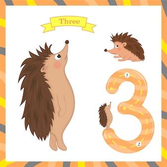 Niedliche kinder flashcard nummer drei mit 3 igeln nachzeichnen, damit kinder lernen zu zählen und zu schreiben.