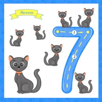 Niedliche kinder flashcard nummer sieben mit 7 katzen nachzeichnen, damit kinder lernen zu zählen und zu schreiben.