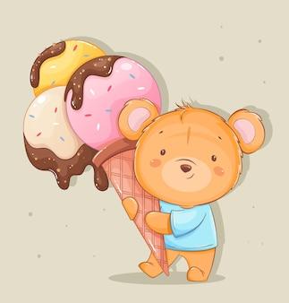 Niedliche kleine bären-cartoon-figur mit großem eis lustiger teddybär