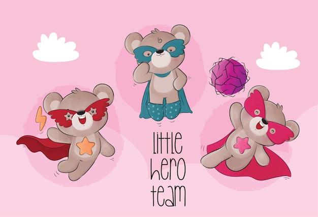 Niedliche kleine bären-superhelden-charakterillustration