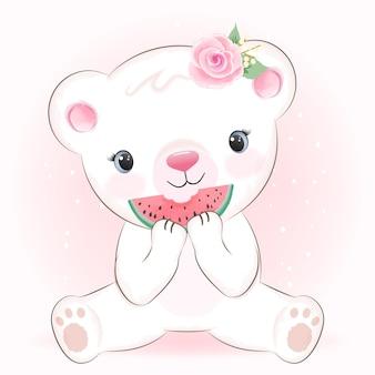 Niedliche kleine bären- und wassermelonen-karikaturillustration