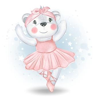 Niedliche kleine bärenballerina-aquarellillustration