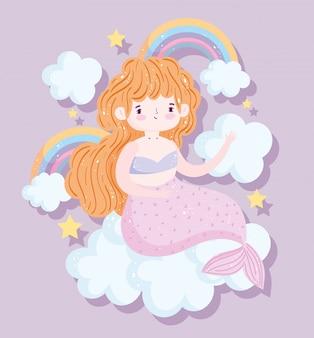Niedliche kleine blonde meerjungfrau regenbogen wolken sterne cartoon