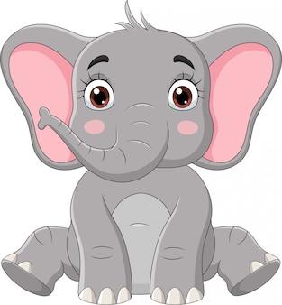 Niedliche kleine elefantenkarikatur sitzen