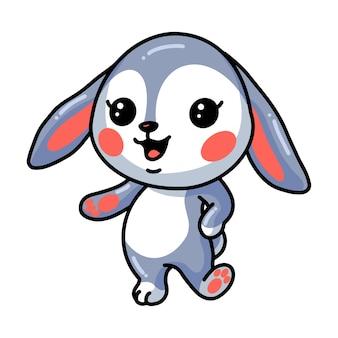 Niedliche kleine kaninchenkarikatur posiert