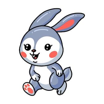 Niedliche kleine kaninchenkarikatur zu fuß