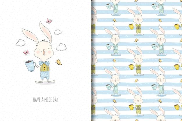 Niedliche kleine kaninchenzeichentrickfilm-figur. oberflächendesign und lustige illustration.