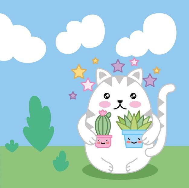 Niedliche kleine katze mit pflanzen im feld kawaii charakterdesign