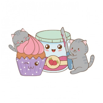 Niedliche kleine katzen mit erdbeermarmelade kawaii-figuren