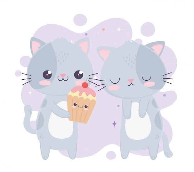 Niedliche kleine katzen mit süßer cupcakes kawaii zeichentrickfigur