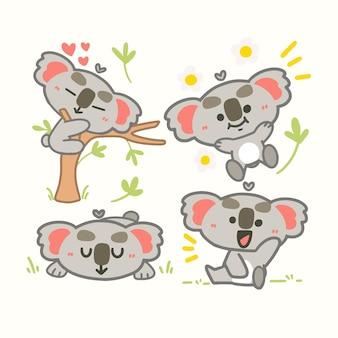 Niedliche kleine koala, die maskottchen-illustration spielt