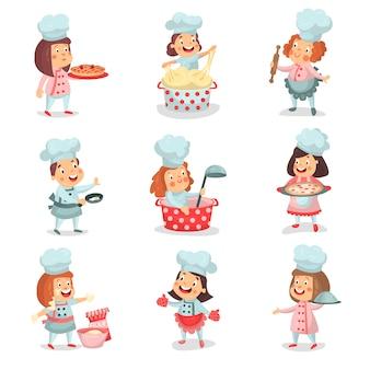 Niedliche kleine kochchefkinder-zeichentrickfiguren, die essen kochen und detaillierte bunte illustrationen backen
