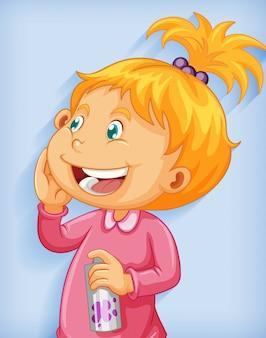 Niedliche kleine mädchen lächeln cartoon-figur lokalisiert auf blauem hintergrund