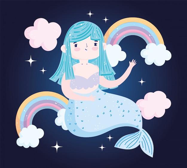 Niedliche kleine meerjungfrau blaue haare mit regenbogenwolken fantasie cartoon