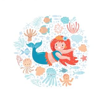 Niedliche kleine meerjungfrau mit kleinen fischen und anderen meeresbewohnern