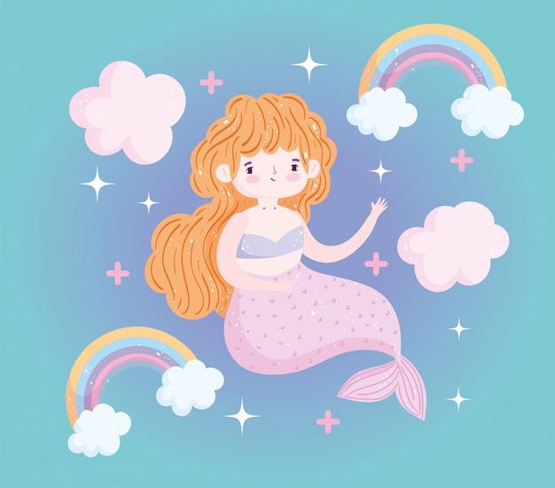 Niedliche kleine meerjungfrau regenbogen wolken dekoration cartoon