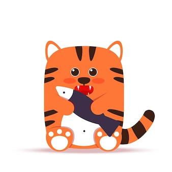Niedliche kleine orange tigerkatze im flachen stil. das tier sitzt mit einem fisch. das symbol des chinesischen neujahrs 2022. für banner, kinderzimmer, dekor. gezeichnete illustration des vektors hand.