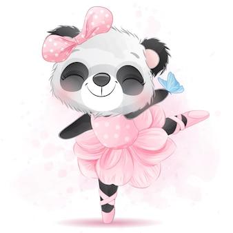 Niedliche kleine panda ballerina