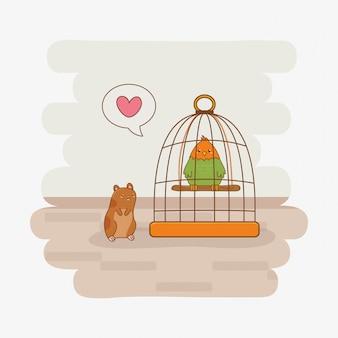 Niedliche kleine papageien- und meerschweinchenmaskottchen