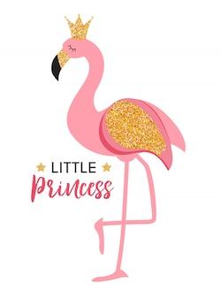 Niedliche kleine prinzessin pink flamingo