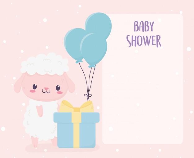 Niedliche kleine schafe der babyparty mit geschenkbox- und ballonfeier
