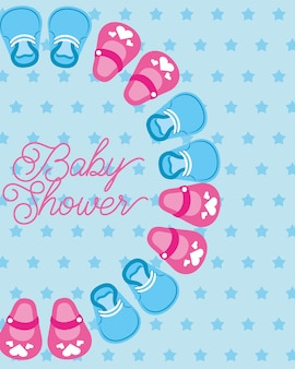 Niedliche kleine schuhe baby-dusche-karte punkte hintergrund