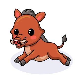 Niedliche kleine wildschweinkarikatur läuft