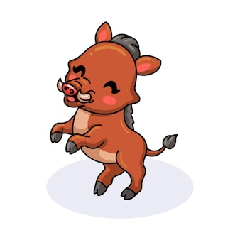Niedliche kleine wildschweinkarikatur stehend