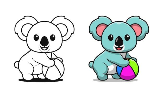 Niedliche koala hält ball cartoon malvorlagen für kinder