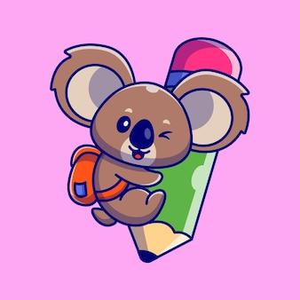 Niedliche koala hug pencil cartoon illustration