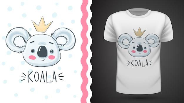 Niedliche koala-idee für druckt-shirt