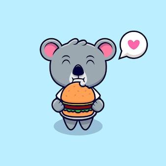 Niedliche koala-liebe, burger-maskottchen-karikatur zu essen