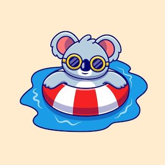 Niedliche koala-schwimmen-sommer-karikatur-illustration
