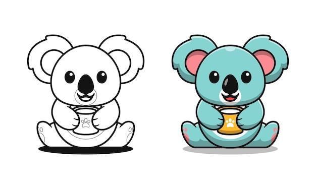 Niedliche koala trinkmilch cartoon malvorlagen für kinder Premium Vektoren