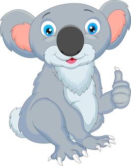 Niedliche koalakarikaturdaumen oben