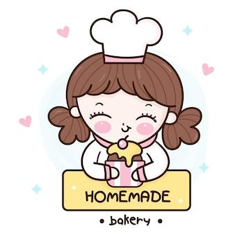 Niedliche koch kawaii mädchen serie bäckerei