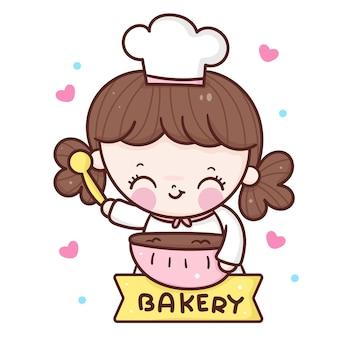 Niedliche kochmädchenkarikatur, die bäckerei kawaii art kocht