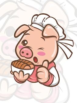 Niedliche kochschweinkarikaturfigur, die knuspriges schweinebauchfutter präsentiert - maskottchen und illustration