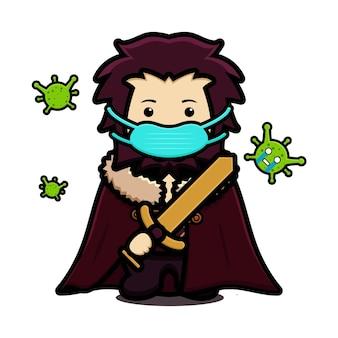 Niedliche könig maskottchen charakter tragen maske kampf gegen virus cartoon vektor icon illustration. entwurf getrennt auf weiß. flacher cartoon-stil.