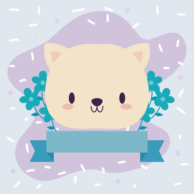 Niedliche kopfkatze baby tier kawaii mit dekor