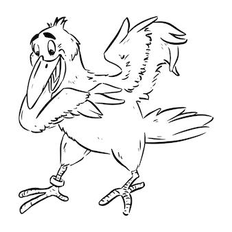 Niedliche krähe oder rabe im comic-stil. cartoon-vogel, entzückende glückliche stockillustration