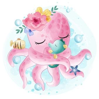 Niedliche krake, die mit seahorse umarmt