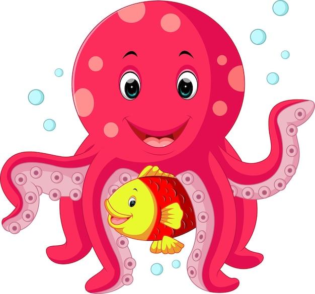 Niedliche kraken-cartoon