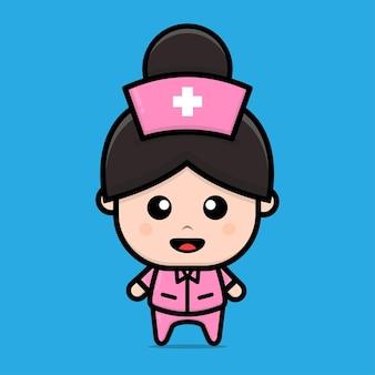 Niedliche krankenschwester charakter cartoon illustration