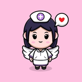 Niedliche krankenschwester engel kawaii zeichentrickfigur illustration
