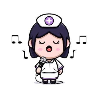 Niedliche krankenschwester kawaii singt mit mikrofon-cartoon-charakter-illustration
